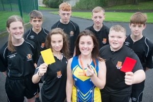 Holy Cross students who have trained as referees under the Lancashire Football Association.